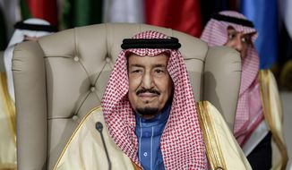 Saudi Arabia's King Salman attends the opening session of the 30th Arab League summit in the Tunisian capital Tunis, Sunday, March 31, 2019. (Fethi Belaid/Pool Photo via AP)