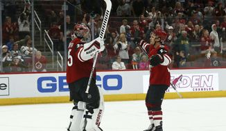 Arizona Coyotes goaltender Darcy Kuemper, left, celebrates a shutout win against the Minnesota Wild with Coyotes center Nick Cousins, right, as time expires in the third period of an NHL hockey game Sunday, March 31, 2019, in Glendale, Ariz. The Coyotes defeated the Wild 4-0. (AP Photo/Ross D. Franklin)