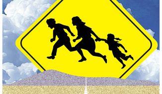 Illustration on the southern border crisis by Alexander Hunter/The Washington Times