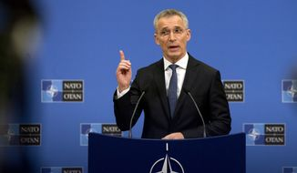 NATO Secretary General Jens Stoltenberg speaks during a media conference at NATO headquarters in Brussels, Monday, April 1, 2019. NATO foreign ministers mark in Washington on Thursday the 70th anniversary of the world's biggest security alliance amid heightened tensions with Russia and years of military stalemate in Afghanistan. (AP Photo/Virginia Mayo)