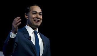 Former Housing and Urban Development Secretary and Democratic presidential candidate Julian Castro speaks during the We the People Membership Summit, featuring the 2020 Democratic presidential candidates, at the Warner Theater, in Washington, Monday, April 1, 2019. (AP Photo/Jose Luis Magana)