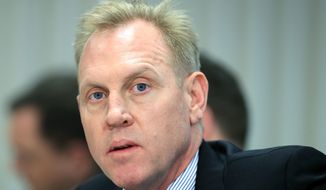 Acting Secretary of Defense Patrick Shanahan responds to questions during a meeting with visiting Philippines Secretary of National Defense Delfin Lorenzana at the Pentagon in Washington, Monday, April 1, 2019. (AP Photo/Manuel Balce Ceneta) **FILE**