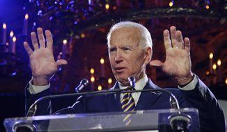 Former Vice President Joe Biden speaks at the Biden Courage Awards Tuesday, March 26, 2019, in New York. (AP Photo/Frank Franklin II)