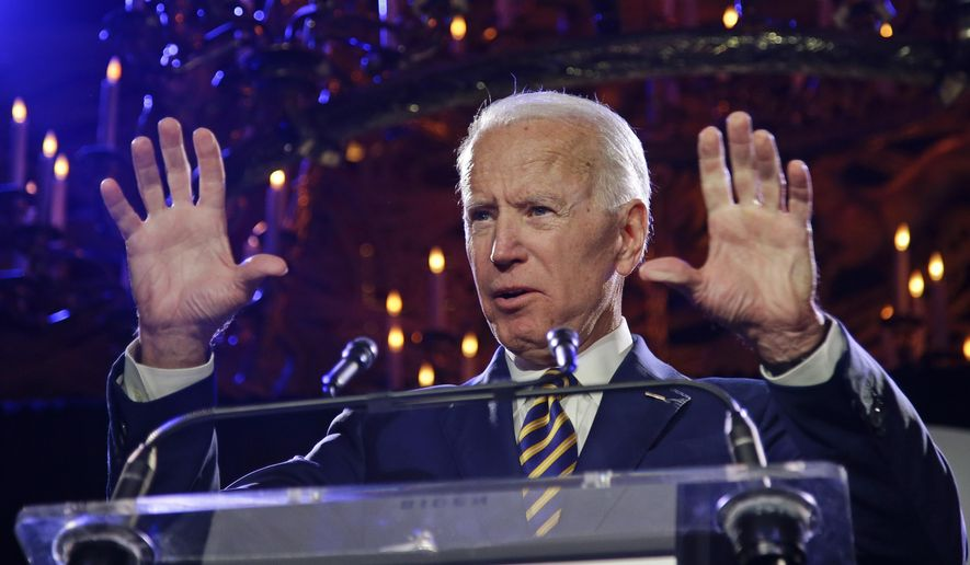 Former Vice President Joe Biden speaks at the Biden Courage Awards Tuesday, March 26, 2019, in New York. (AP Photo/Frank Franklin II)