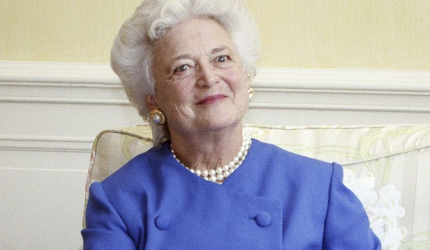 FILE - In this 1990 file photo, first lady Barbara Bush appears at the White House in Washington.  (AP Photo/Doug Mills, File)