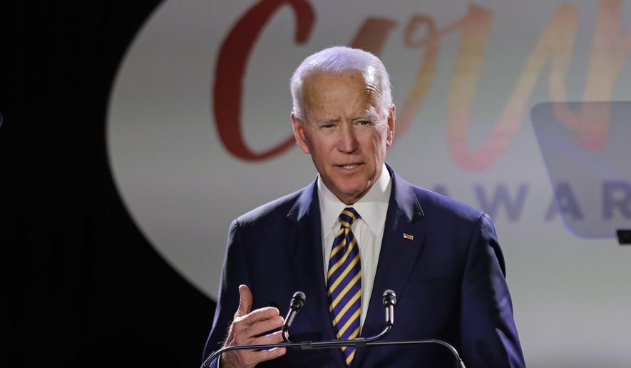 Former Vice President Joe Biden speaks at the Biden Courage Awards, Tuesday, March 26, 2019, in New York. (AP Photo/Frank Franklin II)