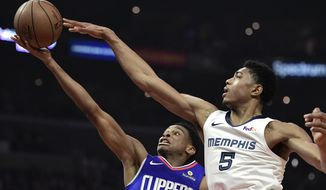 Los Angeles Clippers guard Shai Gilgeous-Alexander, left, shoots as Memphis Grizzlies forward Bruno Caboclo defends during the first half of an NBA basketball game, Sunday, March 31, 2019, in Los Angeles. (AP Photo/Mark J. Terrill)