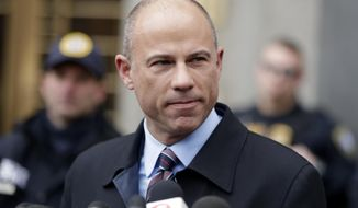 FILE  - In this Dec. 12, 2018, file photo, attorney Michael Avenatti, speaks outside court in New York. Avenatti is expected to appear in federal court on charges he fraudulently obtained $4 million in bank loans and pocketed $1.6 million that belonged to a client. The brash lawyer known for representing adult film star Stormy Daniels has a hearing scheduled Monday, April 1, 2019, in the Orange County city of Santa Ana.  (AP Photo/Julio Cortez, File)