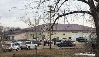 "Police vehicles are seen in the backside of RJR Maintenance and Management, a property management company, Monday, April 1, 2019, Mandan, N.D. Authorities say police responding to a medical call at the North Dakota business have found ""several"" bodies. The Mandan Police Department issued a three-sentence news release confirming that officers had found ""several people who were deceased inside"" the business in the city of about 22,000 just across the Missouri River west of Bismarck. (AP Photo/Blake Nicholson)"