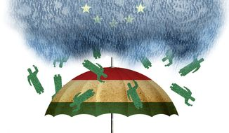 Illustration on Hungarian resistance to EU dictated immigration by Alexander Hunter/The Washington Times