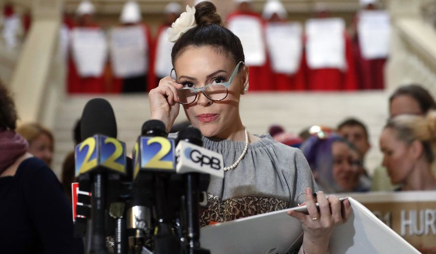 Actress and liberal activist Alyssa Milano is shown in an April 2, 2019, press conference in Atlanta.  (AP Photo/John Bazemore) **FILE**