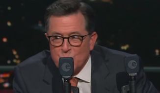 "Comedian Stephen Colbert performs a skit on former Vice President Joe Biden, April 1, 2019. (Image: YouTube, ""The Late Show with Stephen Colbert"" video screenshot)"