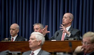 Ranking Member Mac Thornberry, D-Texas, speaks as Secretary of the Army Mark Esper, U.S. Army Chief of Staff Gen. Mark Milley, Secretary of the Air Force Heather Wilson, and U.S. Air Force Chief of Staff Gen. David Goldfein, appear before a House Armed Services Committee budget hearing for the Departments of the Army and Air Force on Capitol Hill in Washington, Tuesday, April 2, 2019. Also pictured is Chairman Adam Smith, D-Wash., left. (AP Photo/Andrew Harnik) ** FILE **