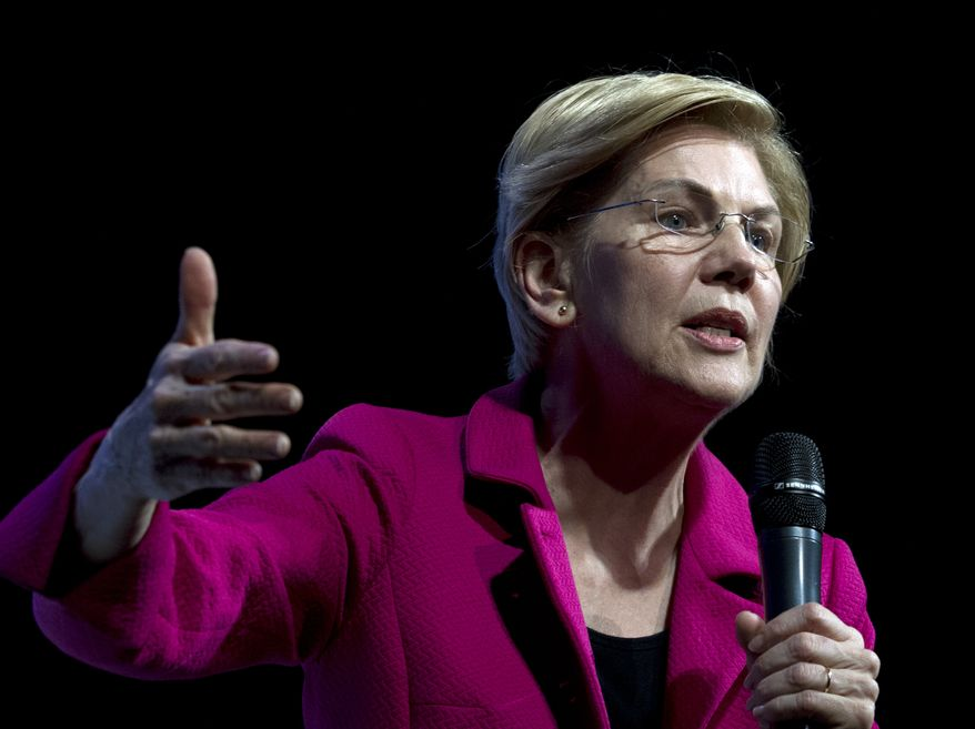 Democratic presidential candidate Sen. Elizabeth Warren, D-Mass., speaks during the We the People Membership Summit, featuring the 2020 Democratic presidential candidates, at the Warner Theater, in Washington, Monday, April 1, 2019. (AP Photo/Jose Luis Magana)