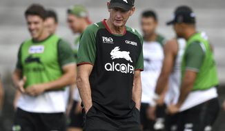In this March 20, 2019, photo South Sydney Rabbitohs rugby league head coach Wayne Bennett attends a training session at in Sydney, Australia. It doesn't get much better in this game than an Oscar-winning Hollywood actor and a veteran, high-profile coach teaming up in Australia's National Rugby League. So far Russell Crowe and Wayne Bennett are doing OK as an owner-coach combination, what some may consider to be two beautiful minds in a gladiatorial kind of sport. (Joel Carrett/AAP Image via AP)
