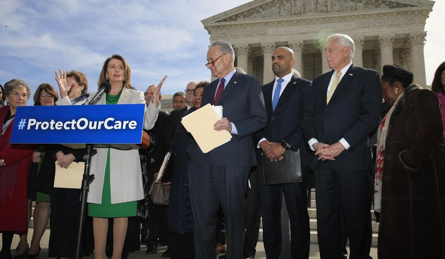 House Speaker Nancy Pelosi of California, with Senate Minority Leader Chuck Schumer of New York; Rep. Colin Allred, D-Texas; House Majority Leader Steny Hoyer of Maryland; Rep. Sheila Jackson Lee, D-Texas; and other Democrat leaders, speaks outside the U.S. Supreme Court in Washington, Tuesday, April 2, 2019. (AP Photo/Manuel Balce Ceneta)