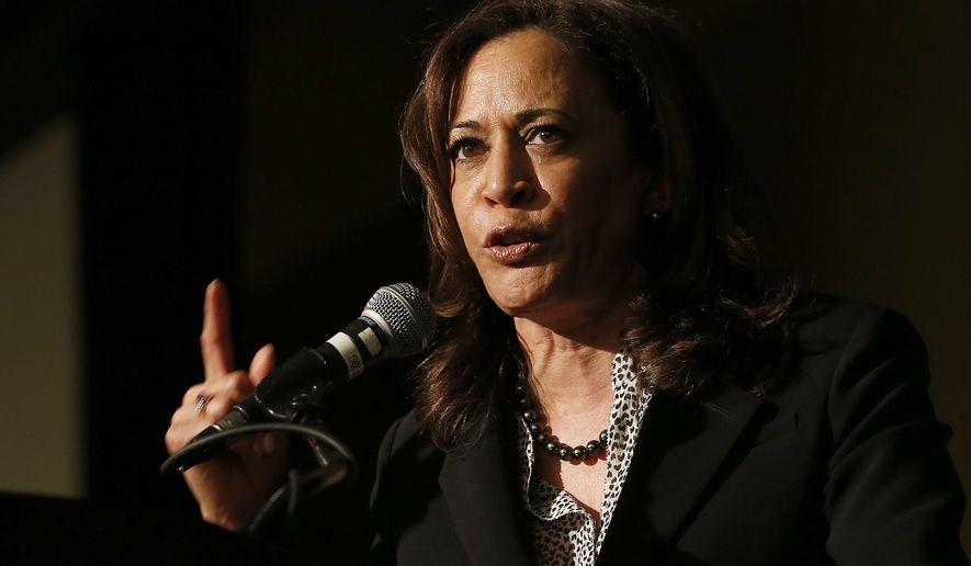 U.S. Sen. Kamala Harris, a candidate for the 2020 Democratic presidential nomination, addresses labor leaders at the California Labor Federal and State Building and Construction Trades Council Legislative Conference Dinner, Monday, April 1, 2019, in Sacramento, Calif. (AP Photo/Rich Pedroncelli)