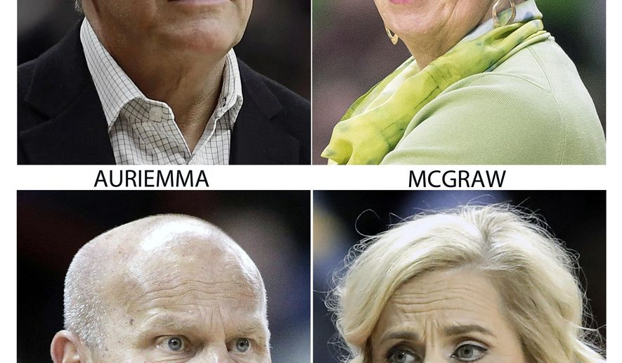 FILE - These are 2018 file photos showing the coaches for the NCAA women's Final Four teams. Geno Auriemma, UConn; Muffet McGraw, Notre Dame; Kelly Graves, Oregon and Kim Mulkey, Baylor. (AP Photo/File)