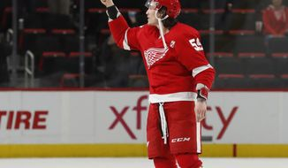 Detroit Red Wings left wing Tyler Bertuzzi is acknowledged as the first star after the NHL hockey game against the Pittsburgh Penguins, Tuesday, April 2, 2019, in Detroit. (AP Photo/Carlos Osorio)