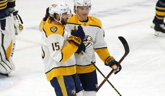Nashville Predators forwards Craig Smith (15) and Mikael Granlund (64) celebrate a goal during the first period of an NHL hockey game against the Buffalo Sabres Tuesday, April 2, 2019, in Buffalo, N.Y. (AP Photo/Jeffrey T. Barnes)