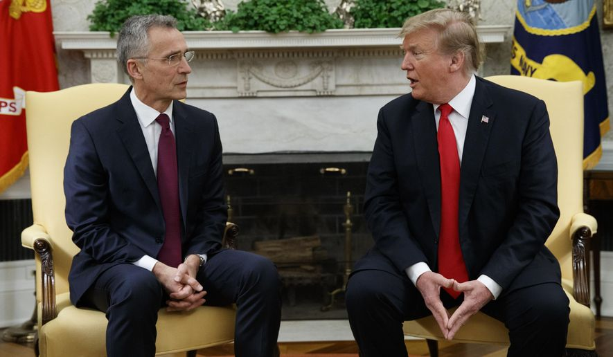 President Donald Trump speaks during a meeting with NATO Secretary General Jens Stoltenberg in the Oval Office of the White House, Tuesday, April 2, 2019, in Washington. (AP Photo/Evan Vucci)
