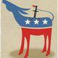 Illustration on Democrat self-immolation by Linas Garsys/The Washington Times