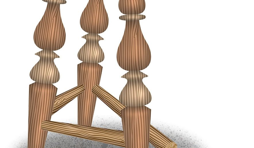 Three Legs Left Illustration by Greg Groesch/The Washington Times