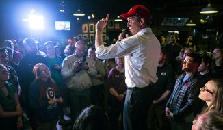 Beto O'Rourke speaks to a crowd gathered at Iowa State University, Wednesday, April 3, 2019, in Ames, Iowa. This is O'Rourke's second trip to Iowa after announcing his presidential campaign. (Kelsey Kremer/The Des Moines Register via AP)