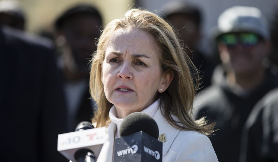Rep. Madeleine Dean, D-Pa., speaks during a news conference at the Philly Shipyard in Philadelphia, Tuesday, March 19, 2019. (AP Photo/Matt Rourke) ** FILE **