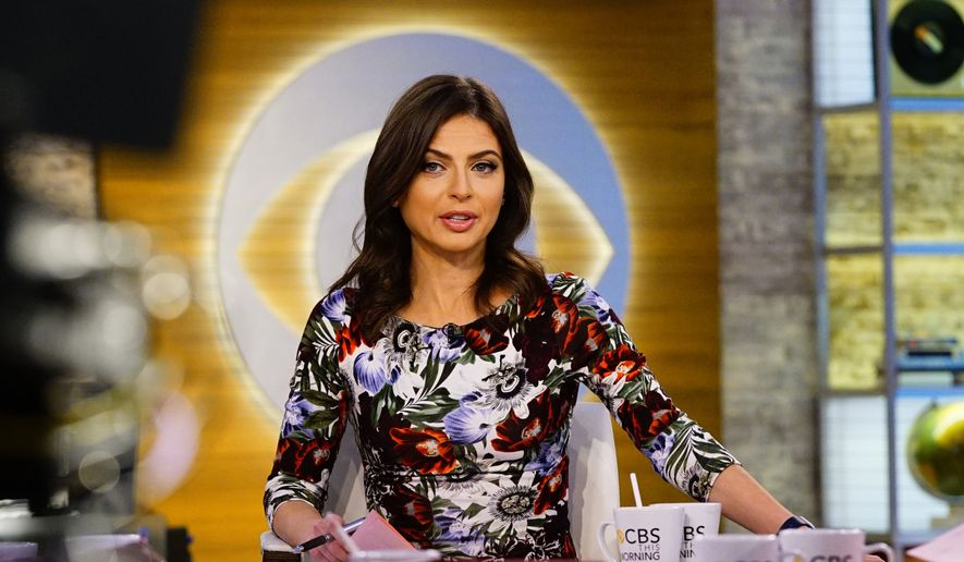 """This Oct. 3, 2018, file photo released by CBS shows Bianna Golodryga, one of four hosts on """"CBS This Morning,"""" on the set in New York. Golodryga is leaving the show and the network.  She was told on Monday that CBS News President Susan Zirinsky had different ideas for the show and was offered other work, but she decided to leave CBS instead. (Michele Crowe/CBS via AP)"""