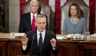 NATO Secretary General Jens Stoltenberg, accompanied by Vice President Mike Pence, left and House Speaker Nancy Pelosi of Calif., right, address a Joint Meeting of Congress on Capitol Hill in Washington, Wednesday, April 3, 2019, having been invited by the bipartisan leadership of the House of Representatives and the Senate. (AP Photo/Andrew Harnik)