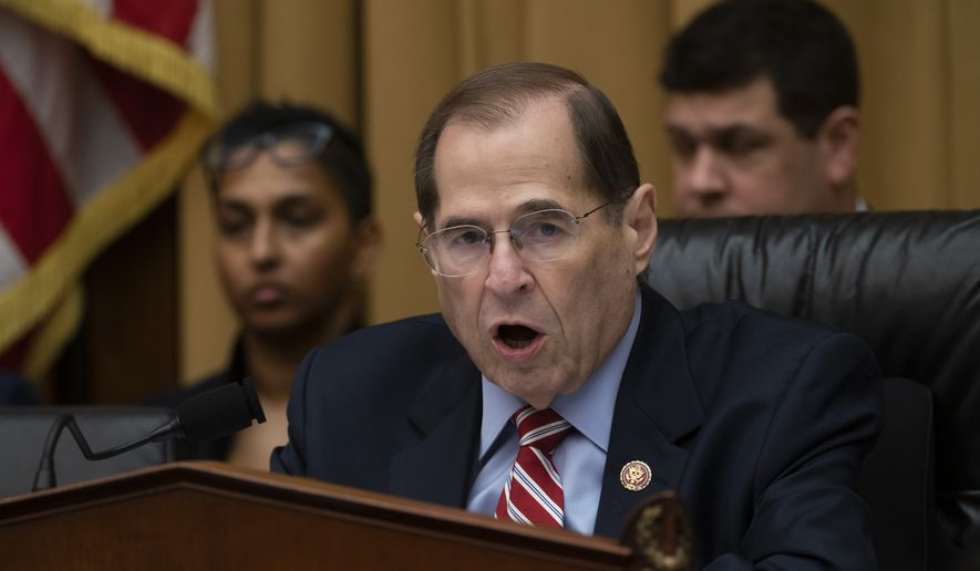 House Judiciary Committee Chair Jerrold Nadler, D-N.Y., speaks as he passes a resolution to subpoena special counsel Robert Mueller's full report, on Capitol Hill in Washington, Wednesday, April 3, 2019. (AP Photo/J. Scott Applewhite)