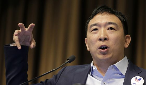 Presidential candidate and entrepreneur Andrew Yang speaks during the National Action Network Convention in New York, Wednesday, April 3, 2019. (AP Photo/Seth Wenig) ** FILE **