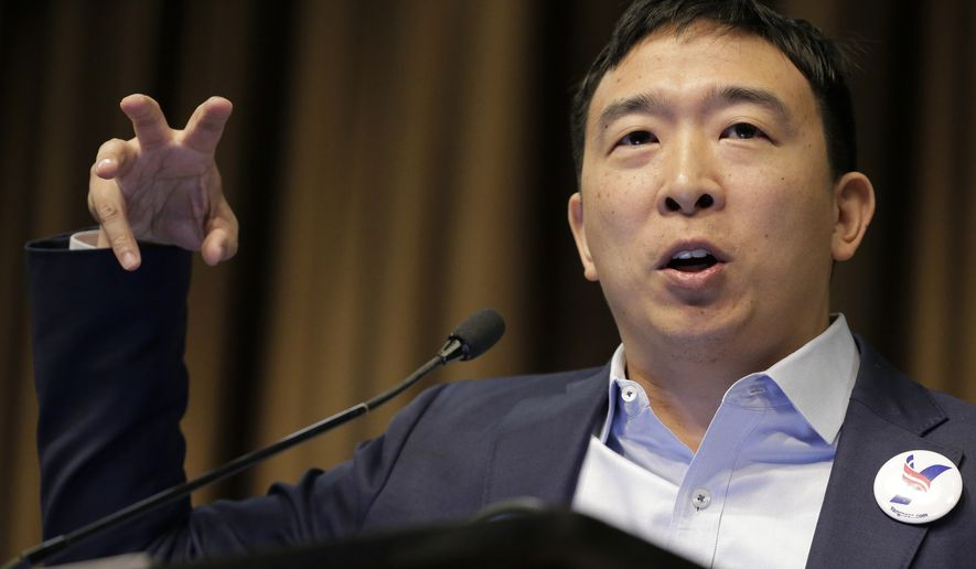Presidential candidate and entrepreneur Andrew Yang speaks during the National Action Network Convention in New York, Wednesday, April 3, 2019. (AP Photo/Seth Wenig)