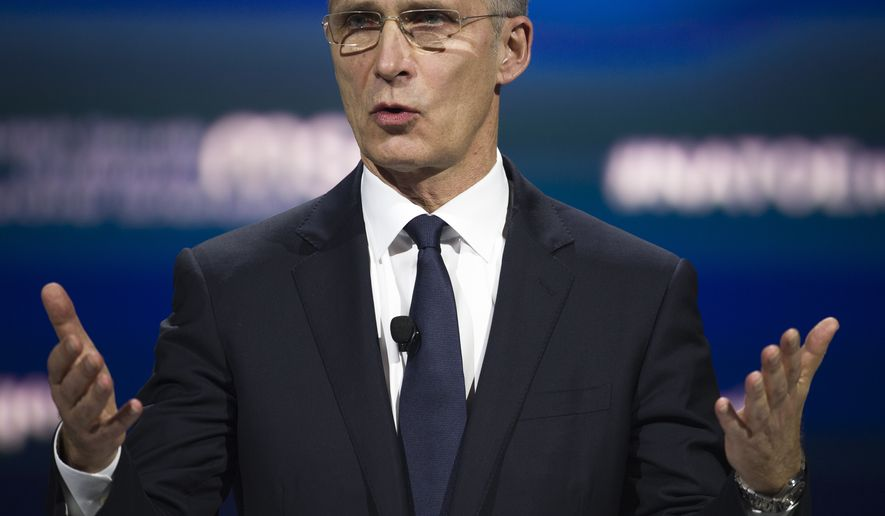 """NATO Secretary General Jens Stoltenberg addresses the Atlantic Council's """"NATO Engages The Alliance at 70"""" conference, in Washington, Wednesday, April 3, 2019. (AP Photo/Cliff Owen)"""