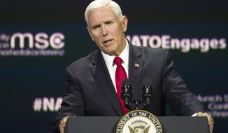 "Vice President Mike Pence addresses the Atlantic Council's ""NATO Engages The Alliance at 70"" conference, in Washington, Wednesday, April 3, 2019. (AP Photo/Cliff Owen)"