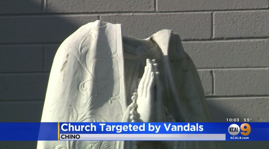 A statue of the Virgin Mary, which has stood for five decades, was beheaded Saint Margaret Mary's Church on March 30, 2019, in Pomona Valley, California. A stained glass window of Mary was smashed last month, along with similar statues at a nearby church. (Image: KCAL-9 Los Angeles screenshot)