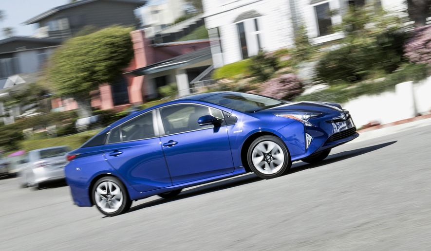 This undated photo provided by Edmunds shows the 2016 Toyota Prius, an example of a late-model vehicle that comes with advanced safety features. These features are useful but can lead to increased repair costs should the vehicle get damaged in an accident. (Scott Jacobs/Edmunds via AP)
