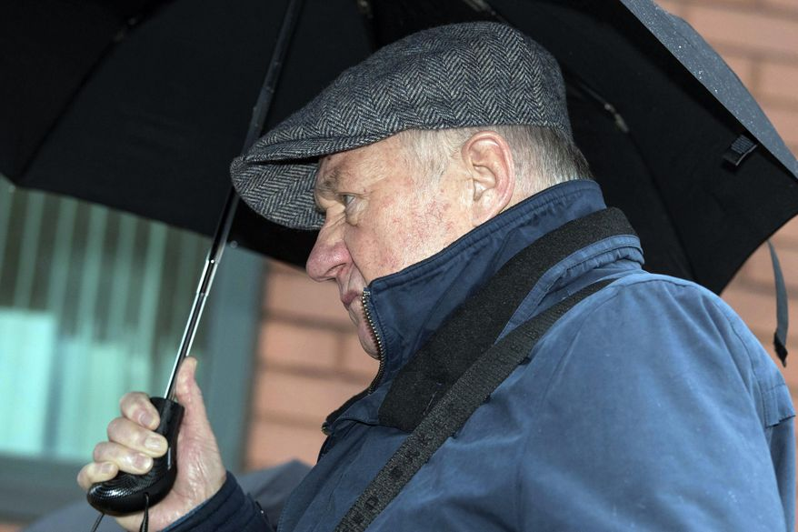 Hillsborough match commander David Duckenfield arrives at Preston Crown Court in Preston, England, Wednesday, April 3, 2019. A British jury has failed to reach a decision on whether the man in control of police operations at the 1989 Hillsborough Stadium tragedy that left 96 people dead is guilty of gross negligence manslaughter. Jurors at Preston Crown Court in northern England deliberated for eight days in the case of David Duckenfield, 74, who has denied the 95 charges. (Aaron Chown/PA via AP)