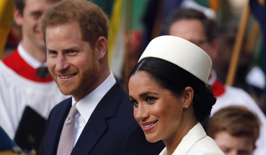 In this Monday, March 11, 2019, file photo, Britain's Prince Harry and Meghan, the Duchess of Sussex, leave after the Commonwealth Service at Westminster Abbey in London. (AP Photo/Frank Augstein, file)