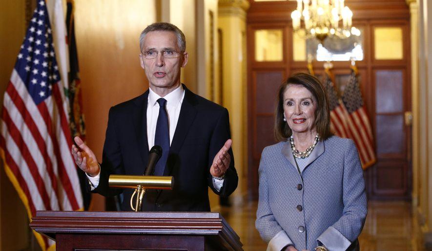 NATO Secretary General Jens Stoltenberg, left, speaks alongside House Speaker Nancy Pelosi of Calif., at the beginning of their meeting, Wednesday, April 3, 2019, on Capitol Hill in Washington. (AP Photo/Patrick Semansky)