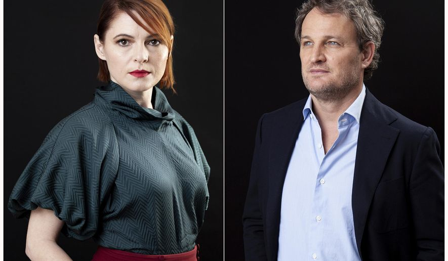 """This March 19, 2019 combination photo shows Amy Seimetz , left, and Jason Clarke posing for a portrait to promote their film """"Pet Sematary"""" at the Four Seasons Hotel in Los Angeles. (Photo by Rebecca Cabage/Invision/AP)"""