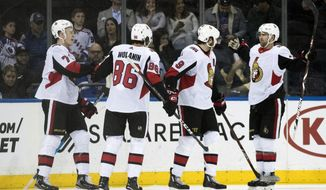 Ottawa Senators left wing Brady Tkachuk (7) celebrates after scoring a goal during the second period of an NHL hockey game against the New York Rangers, Wednesday, April 3, 2019, at Madison Square Garden in New York. (AP Photo/Mary Altaffer)