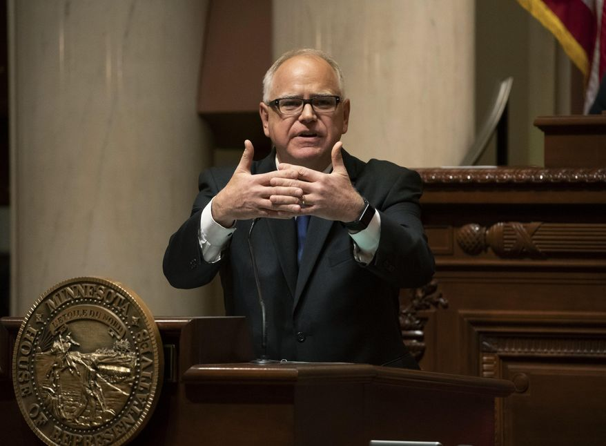 Gov. Tim Walz speaks during the State of the State address at the state Capitol in St. Paul, Minn., Wednesday, April 3, 2019. (Renee Jones Schneider/Star Tribune via AP)