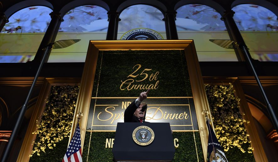 President Donald Trump speaks at the National Republican Congressional Committee's annual spring dinner in Washington, April 2, 2019. (AP Photo/Susan Walsh)