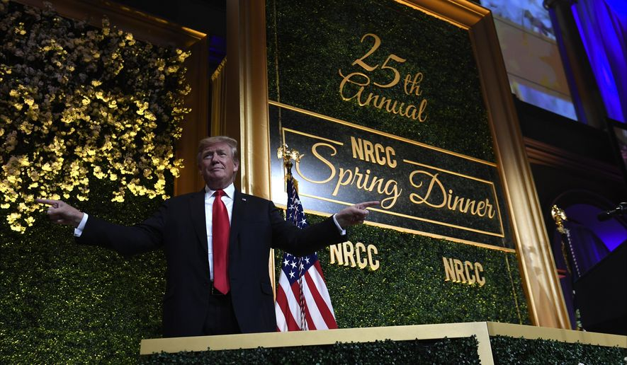 President Donald Trump arrives to speak at the National Republican Congressional Committee's annual spring dinner in Washington, April 2, 2019. (AP Photo/Susan Walsh)