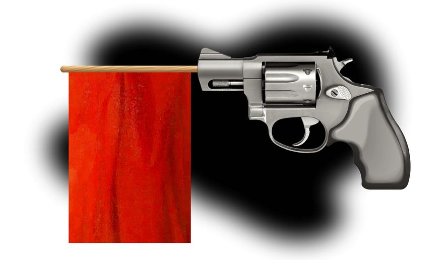 Illustration on red flag gun laws by Alexander Hunter/The Washington Times