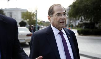 House Judiciary Committee Chair Jerrold Nadler, D-N.Y., speaks with a reporter as he departs a news conference after the House voted to reauthorize the Violence Against Women Act, Thursday, April 4, 2019, on Capitol Hill in Washington. (AP Photo/Patrick Semansky) ** FILE **