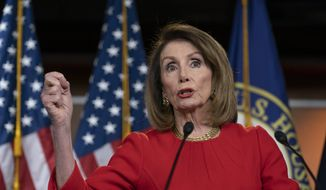 Speaker of the House Nancy Pelosi, D-Calif., speaks to reporters during a news conference on Capitol Hill in Washington, Thursday, April 4, 2019. (AP Photo/J. Scott Applewhite) ** FILE **