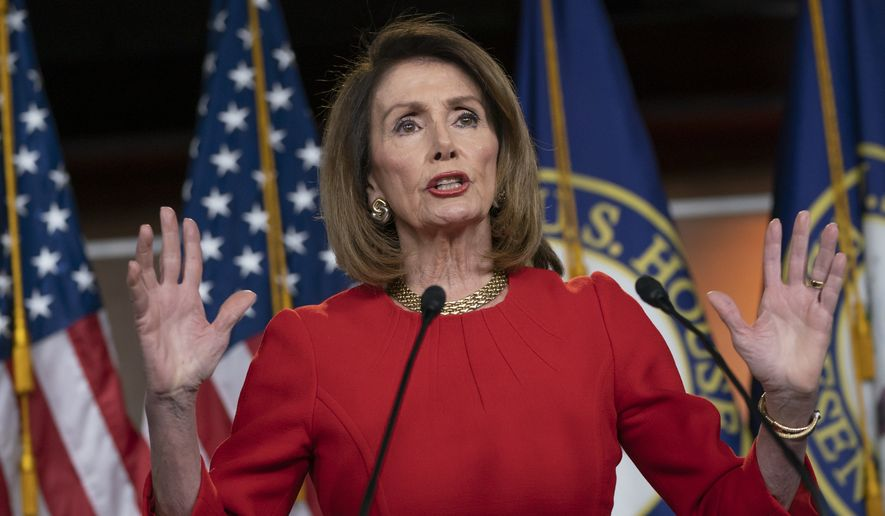 Speaker of the House Nancy Pelosi, D-Calif., speaks to reporters during a news conference on Capitol Hill in Washington, Thursday, April 4, 2019. (AP Photo/J. Scott Applewhite)